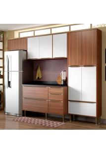 Cozinha Compacta Calábria Com Tampo 11 Portas Nogueira/Branco - Multimóveis