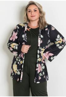Casaco Amplo Floral Plus Size
