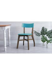 Cadeira Para Escrivaninha Bella - Castanho E Azul Turquesa 44X51X82 Cm