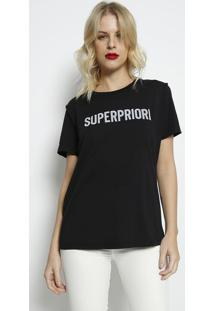 "Camiseta ""Superpriori""- Preta & Off White- Forumforum"