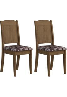 Cadeira Cimol Bárbara Bordô,Floral,Savana 2 Cadeiras