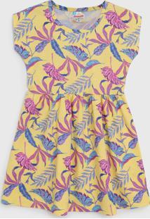 Vestido Brandili Infantil Folhagem Amarelo/Rosa