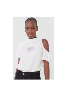 Camiseta Colcci Assimétrica Pedraria Off-White