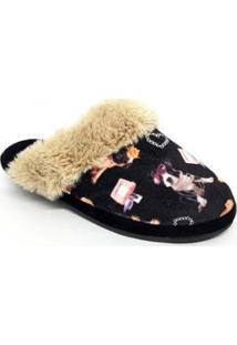 Pantufas De Lã Leffa Pets Feminina - Feminino-Preto
