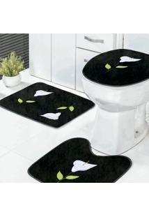 Jogo Banheiro Dourados Enxovais Copo De Leite Preto