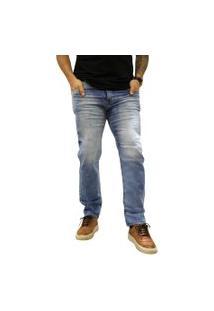 Calça Jeans Elite Lux Slim Tradicional Reta Azul Claro