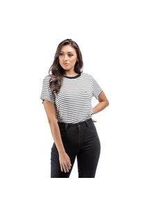 T-Shirt Feminina Listrada Detalhe Coroa Off White