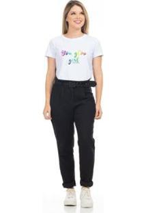 Camiseta Cropped Clara Arruda Viés Estampada 18020021 Feminina - Feminino-Branco