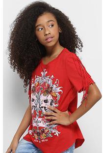 Camiseta Infantil Colcci Estampada Feminina - Feminino-Vermelho