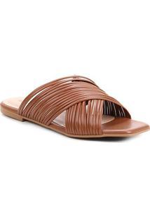 Rasteira Shoestock Bico Quadrado Tirinhas - Feminino-Caramelo