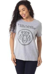 Camiseta Turnê A Jornada Thiago Brado Slim 6027000009 Cinza - Cinza - Pp - Feminino