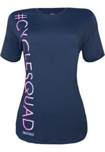 Camiseta Alto Giro Feminina Skin Fit Cycle Squad - Feminino-Azul