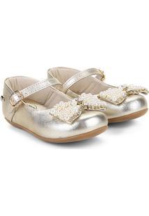 7172b3257 Sapato Infantil Klin Pérolas Princess Feminino - Feminino-Dourado