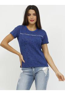 Camiseta Devore Com Bordados- Azul Escuro & Branca- Coca-Cola