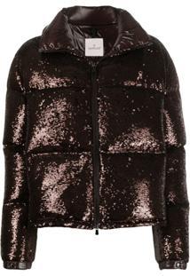 Moncler Sequinned Puffer Jacket - Marrom