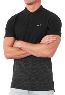 Polo Hollister Masculina Epic Flex Stretch Tie Day Preta Mescla