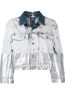 Diesel Jaqueta Jeans Com Efeito Metalizado - Azul