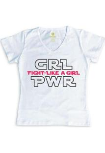 Camiseta Geek Feminina Gola V Series E Cinema Cool Tees Girl Power - Feminino-Branco