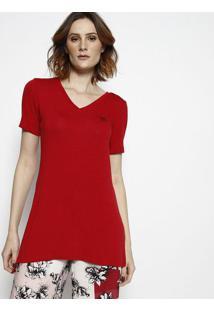 Camiseta Com Fendas & Bordado- Vermelha- Tritontriton