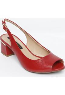 Peep Toe Chanel Em Couro - Vermelho - Salto: 5Cmjorge Bischoff