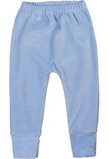 Calça De Bebê Pé Reversível Plush Básico Azul Azul
