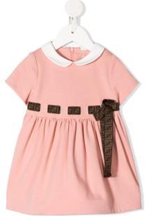 Fendi Kids Vestido Com Laço E Monograma Ff - Rosa