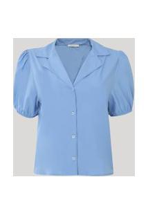 Camisa Feminina Manga Bufante Azul Claro