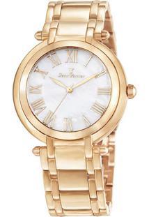 Relógio Analógico Jv01003- Rosê Gold & Branco- Jean Jean Vernier