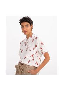 Camisa Manga Curta Com Bolsos Frontais Estampa Girafas | Marfinno | Branco | G