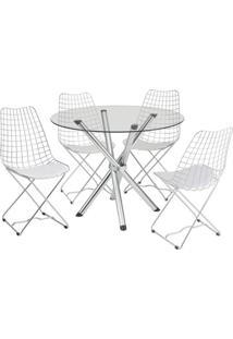 Conjunto De Mesa Com 4 Cadeiras Ana Carolina Corino Branco E Cromado