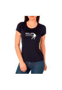 Camiseta Feminina Algodão Patins Confortável Dia A Dia Preto