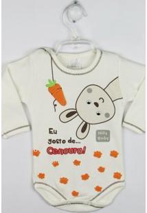 Body Bebê Manga Longa Coelhinho - Masculino-Creme