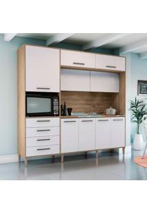 Cozinha Compacta 9 Portas E 4 Gavetas Cb285 – Kappesberg - Nogal / Branco