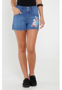 Short Feminino Jeans Mulher Maravilha