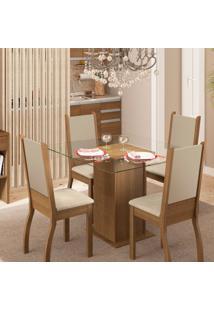 Conjunto De Mesa Com 4 Cadeiras De Jantar Glória Linho Rústico Pérola