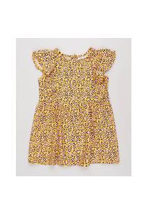 Vestido Infantil Estampado Animal Print Onça Com Babado Manga Curta Amarelo