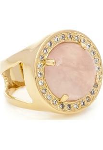 Anel Banhado A Ouro Quartzo Rosa E Zirconias - Feminino