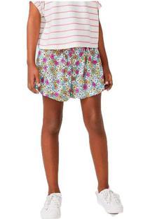 Shorts Infantil Menina Floral Azul