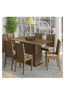 Conjunto Sala De Jantar Madesa Celeny Mesa Tampo De Madeira Com 6 Cadeiras Rustic/Bege Marrom