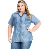 Camisa Confidencial Extra Plus Size Jeans Com Abertura Nas Costas Feminina  - Feminino-Azul e5b574d9c7bc6