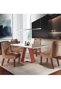 Mesa De Jantar Grécia 1,35M Com Vidro Offwhite + 4 Cadeiras Atena Tecido 39 - Castanho Prêmio Com Offwhite