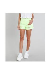 Short De Sarja Feminino Vintage Com Rasgos Verde Neon