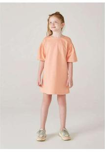 Vestido Infanti Menina Com Mangas Bufantes Laranja