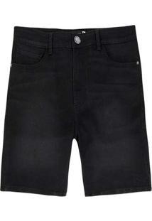 Bermuda Masculina Jeans Tradicional Preto