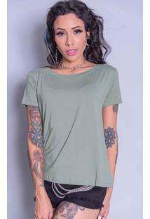 Camiseta Camarim 82 Bã¡Sica Verde - Verde Militar - Feminino - Dafiti