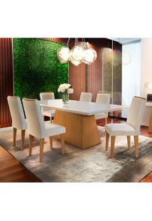 Conjunto De Mesa De Jantar Luna Com 6 Cadeiras Estofadas Lunara I Veludo Off White E Creme