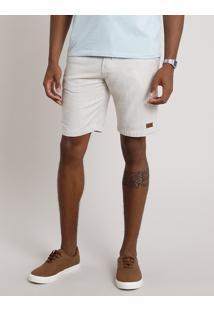 Bermuda Masculina Slim Com Cordão E Bolsos Bege Claro