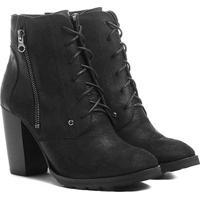 292b4b859 Bota Couro Coturno Shoestock Zíper Feminina - Feminino-Preto