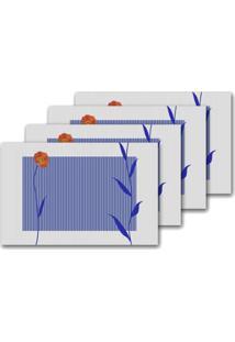 Jogo Americano Flor Retangular 4 Peças Class Home - Unissex-Branco+Azul