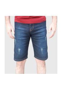 Bermuda Jeans Lycra Aizone Puídos Azul